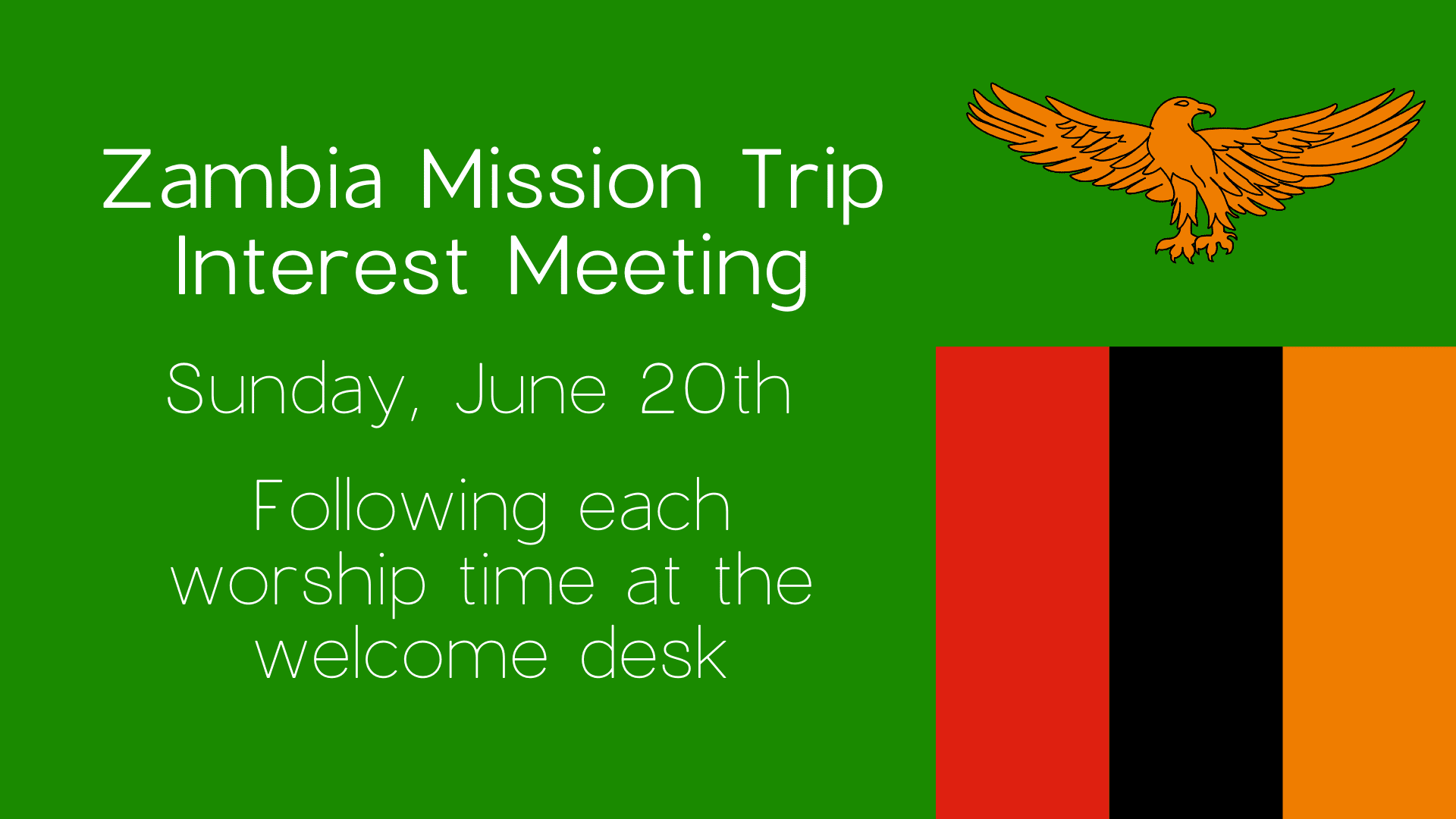 Zambia Mission Trip Interest Meeting banner